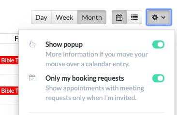 Screenshot of the new settings box in calendar view.
