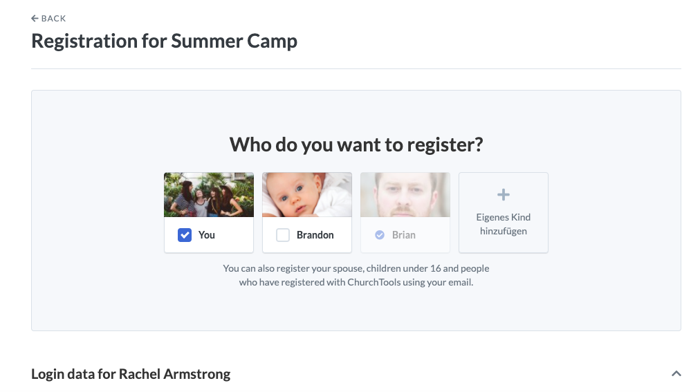 Screenshot to register spouse and children