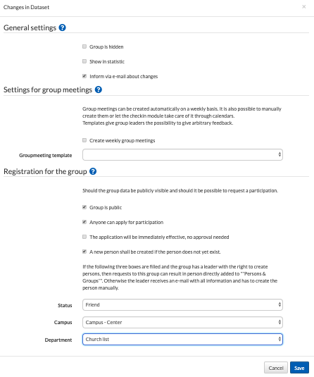 General settings for the group registration