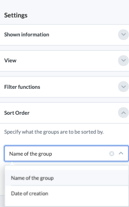 Screenshot of the sort setting on the group homepage.