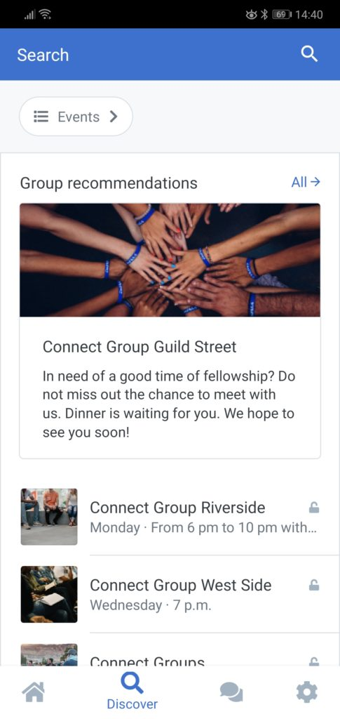 Screenshot of the Discover page with group suggestions