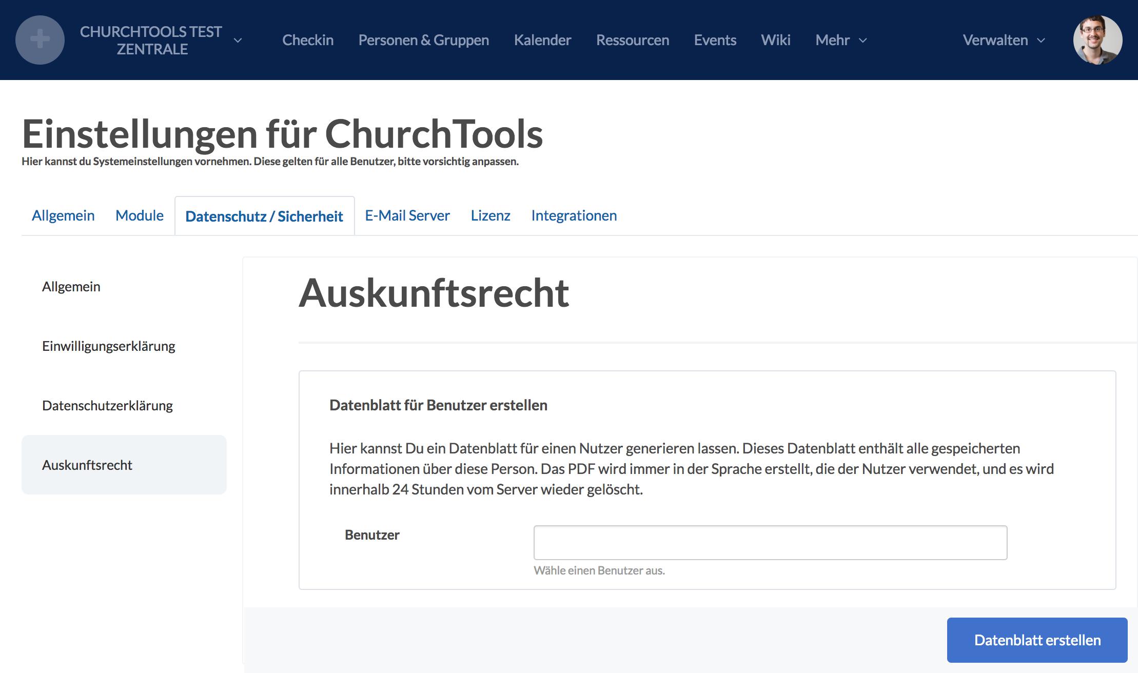 Screenshot der Auskunftsrecht Seite