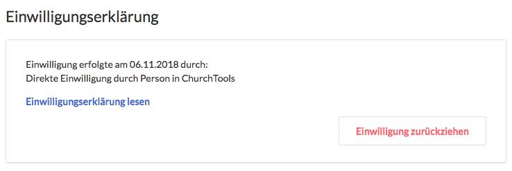 Screenshot aus dem Profil, wo man die Einwilligungserklärung zurückziehen kann.