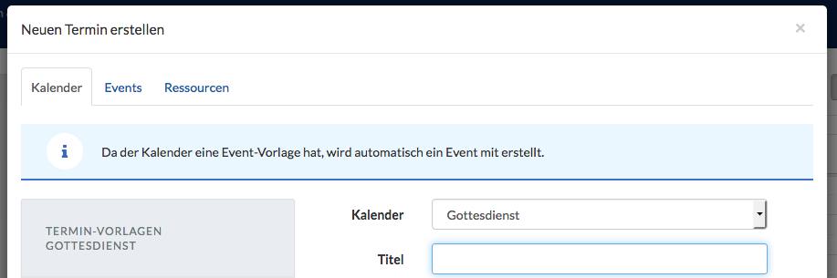 Screenshot der Info beim Anlegen eines neuen Termin, dass eine Event-Vorlage existiert.