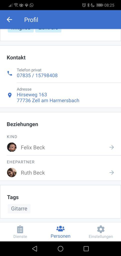 Screenshot des Profils in Verson 0.3 mit Beziehungen und Tags