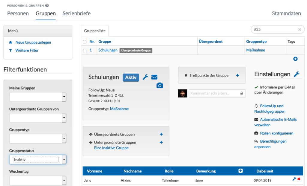 Screenshot der Gruppenliste mit einer inaktiven Gruppe.