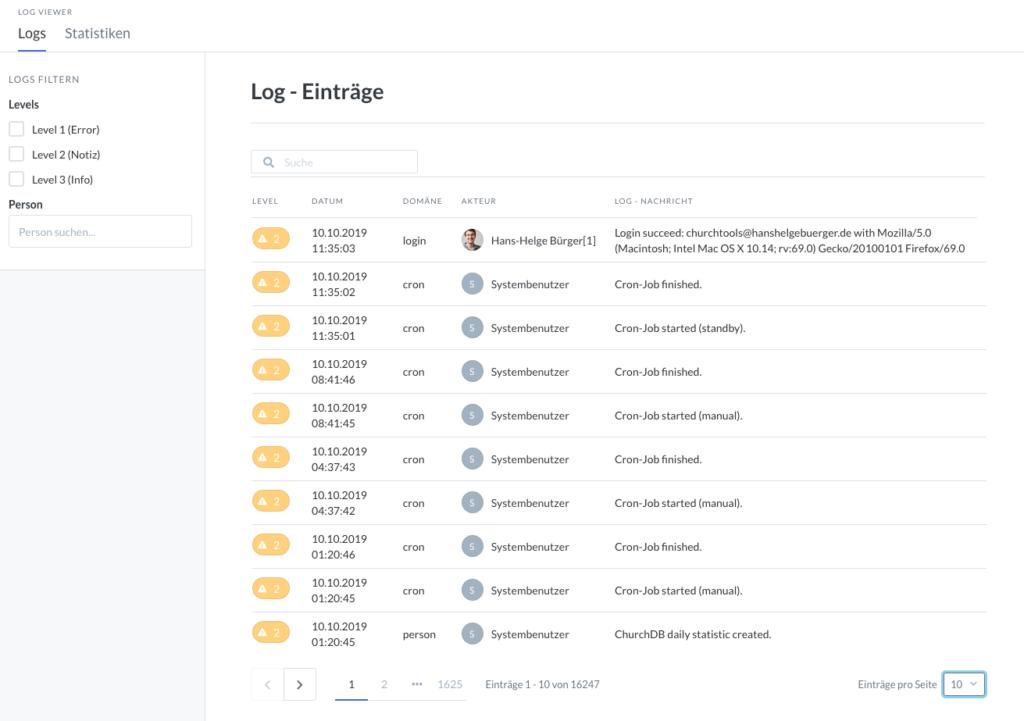 Screenshot der neuen Log-Ansicht