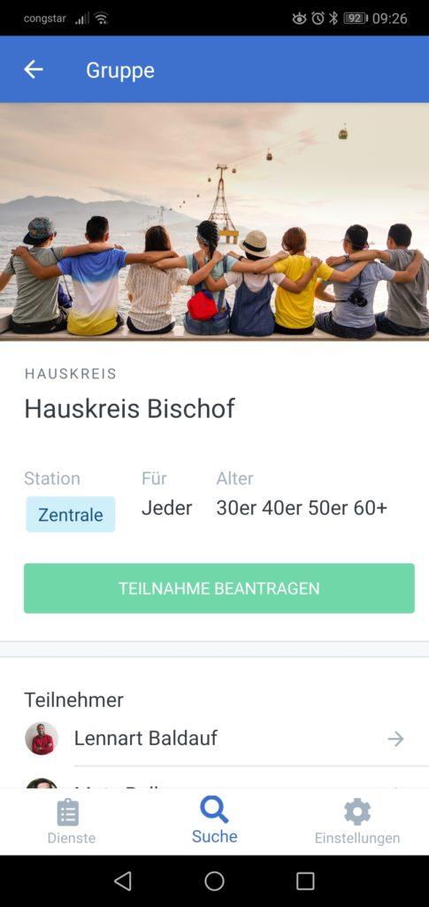 Screenshot der Gruppenseite für den Hauskreis Bischof