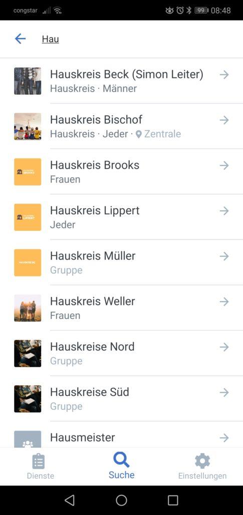Screenshot einer Suche nach Hauskreisen