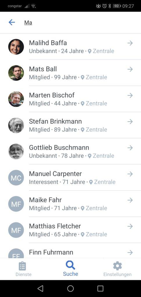 Screenshot der Personensuche mit zusätzlichen Informationen