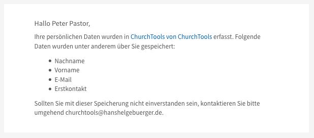 Mail mit Informationen, dass eigene Daten in ChurchTools abgespeichert wurden.