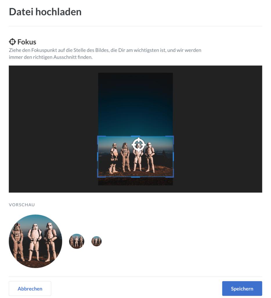 Screenshot des neuen Dialogs zum Hochladen des Profilbilds