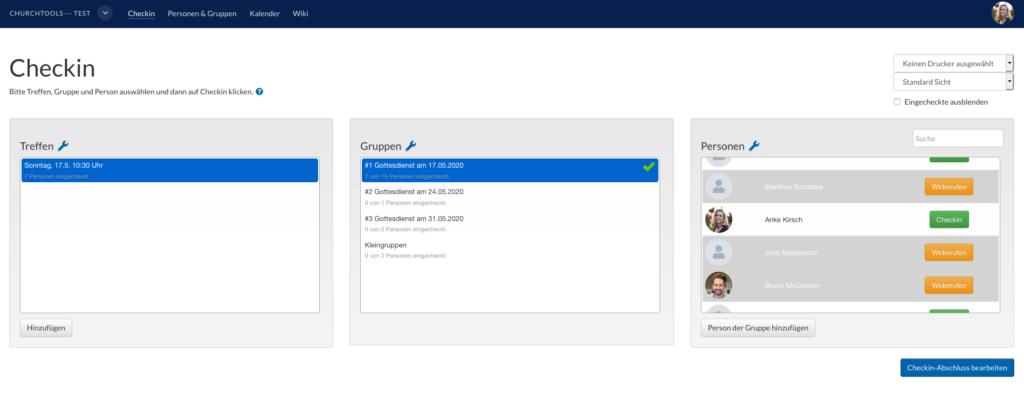 Screenshot des Checkin Moduls