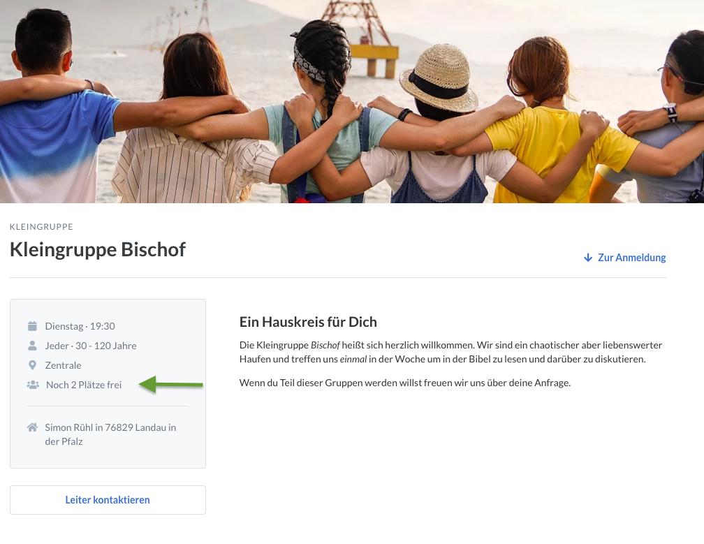 Screenshot der öffentlichen Seite einer Gruppe