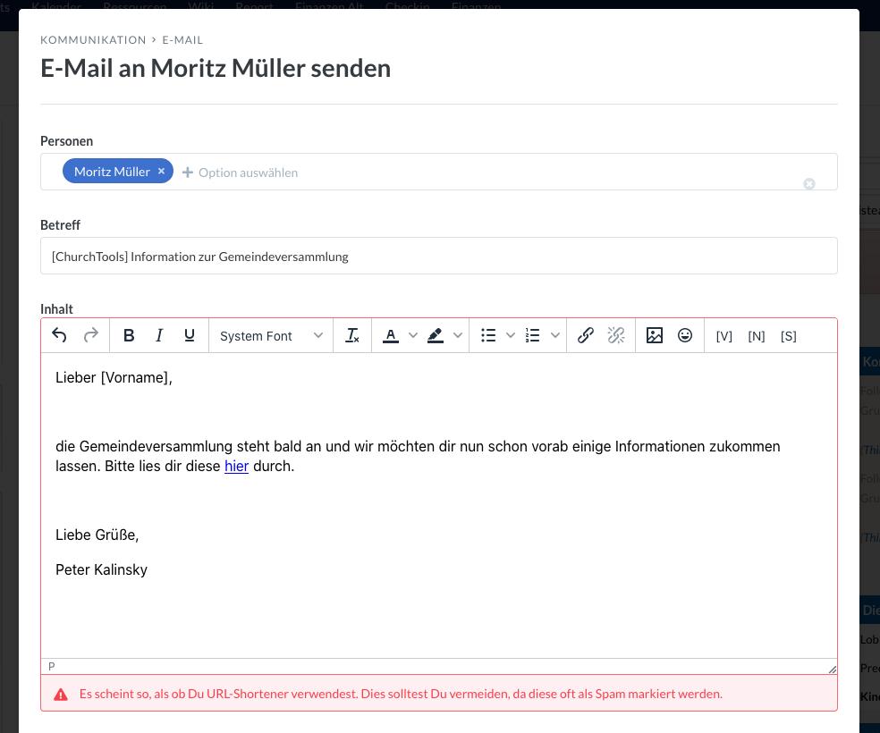 Screenshot des E-Mailers, der einen vor URL Shortener warnt.