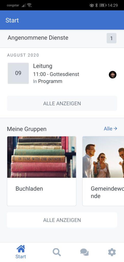 Screenshot der Startseite mit meinen Gruppen