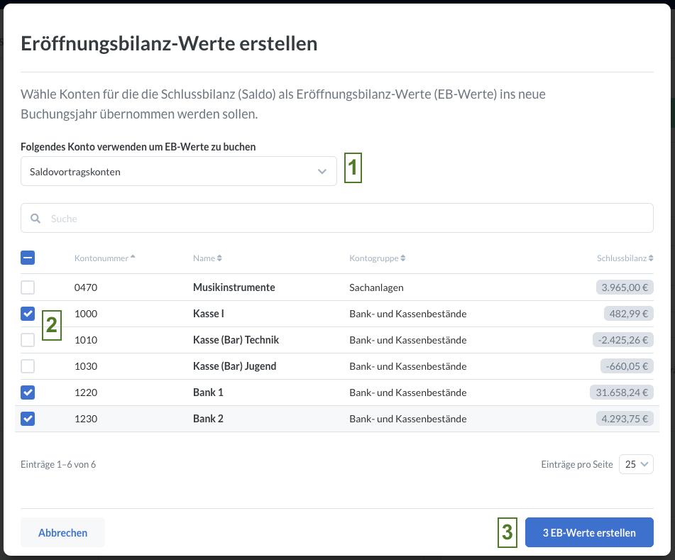 Screenshot: Tabelle mit Konten für die EB-Werte erstellt werden können.