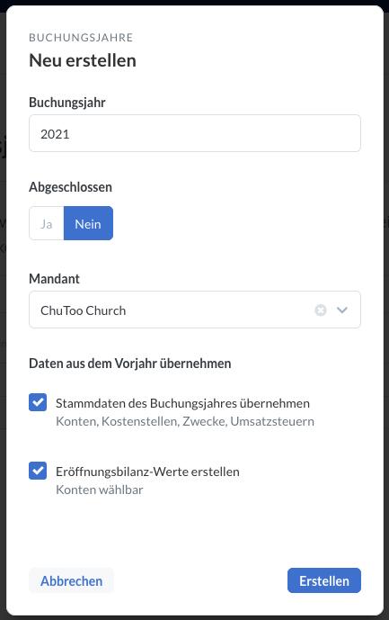 Screenshot: Dialog um neues Buchungsjahr anzulegen