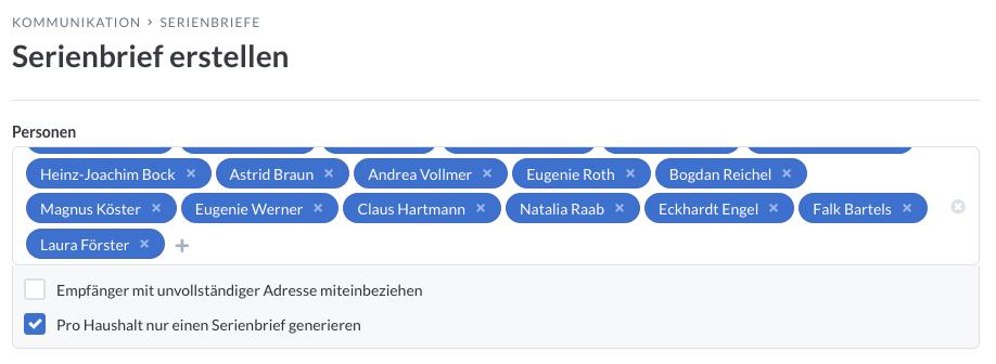 Screenshot: Auswahl, ob ein Serienbrief pro Haushalt oder lieber pro Person erstellt werden soll