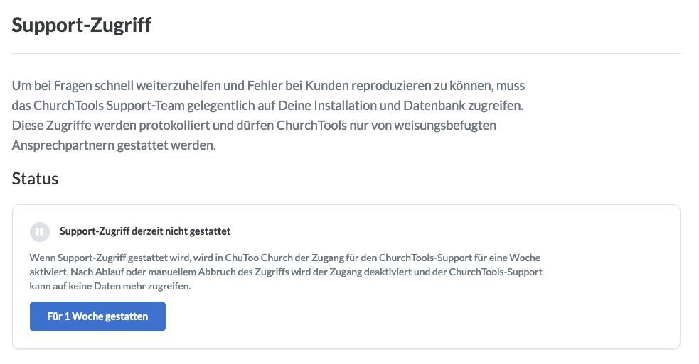 Screenshot: Support-Zugriff aktivieren