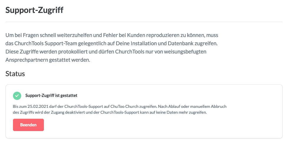 Screenshot: Support-Zugriff deaktivieren