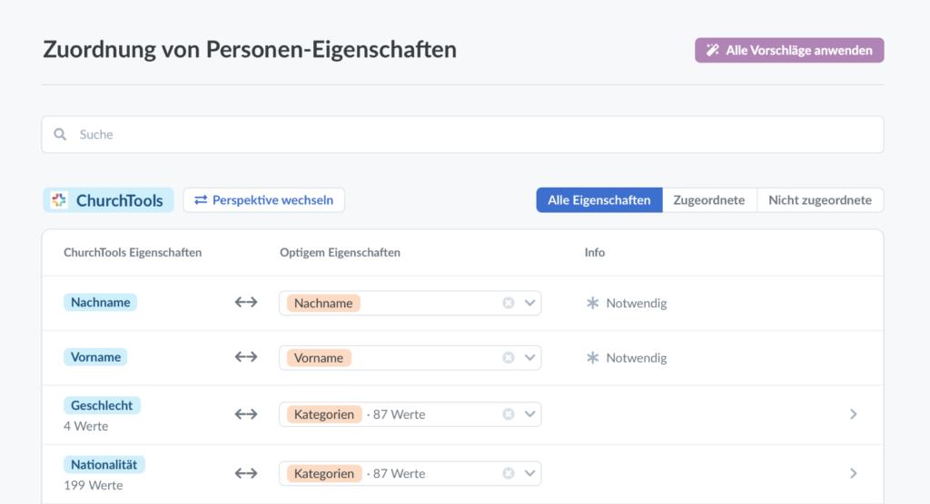 """Screenshot der Seite """"Zuordnung von Personen-Eigenschaften"""" (Beispiel)"""