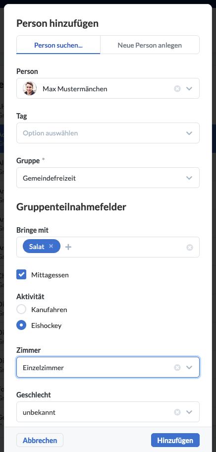 Screenshot: Person hinzufügen