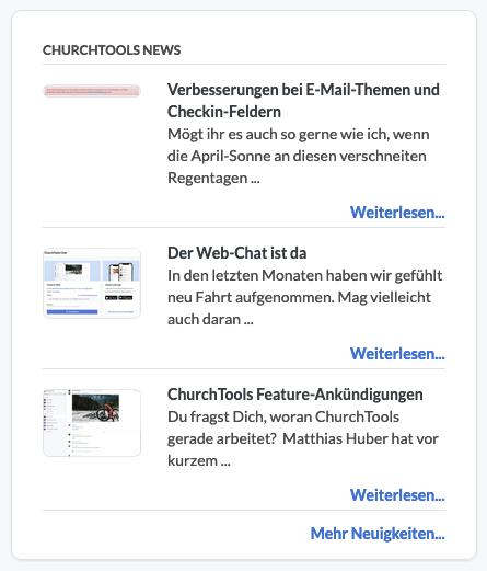 Screenshot des neuen ChurchTools News Widget