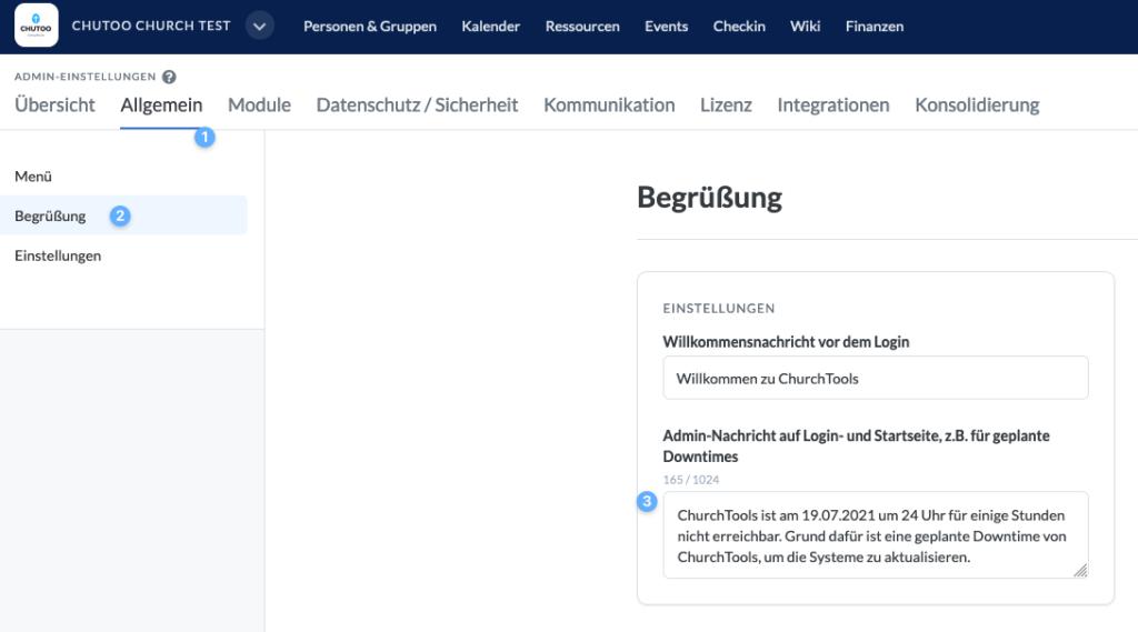 Screenshot: Admin-Einstellungen zeigen, um einen Text für die geplante Downtime zu hinterlegen.