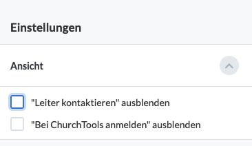"""Screenshot: Zwei Checkboxen unter dem Reiter """"Ansicht"""" um die Ansicht der öffentlichen Gruppe einzustellen."""