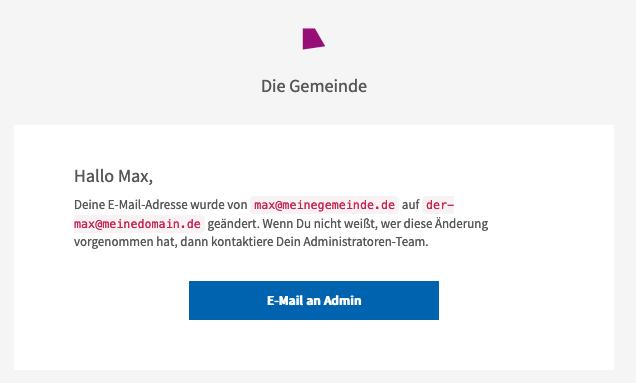 Screenshot der E-Mail mit dem Sicherheitshinweis, dass die E-Mail-Adresse geändert wurde.