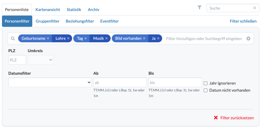 Screenshot: Personenfilter im neuen Design